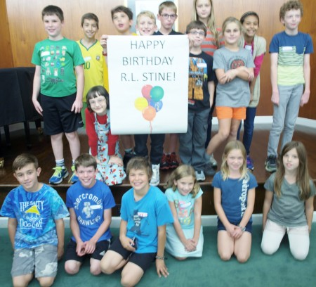 Students at the R.L. Stine Creative Writing Workshop celebrated the Bexley native's birthday.