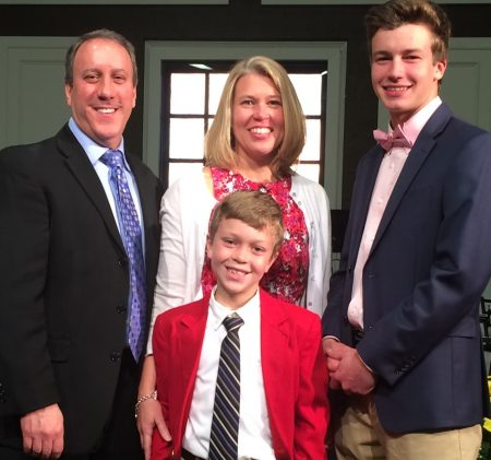 Eric and Pam Hagely with sons Kyle Hagely (front) and Carter McClellan